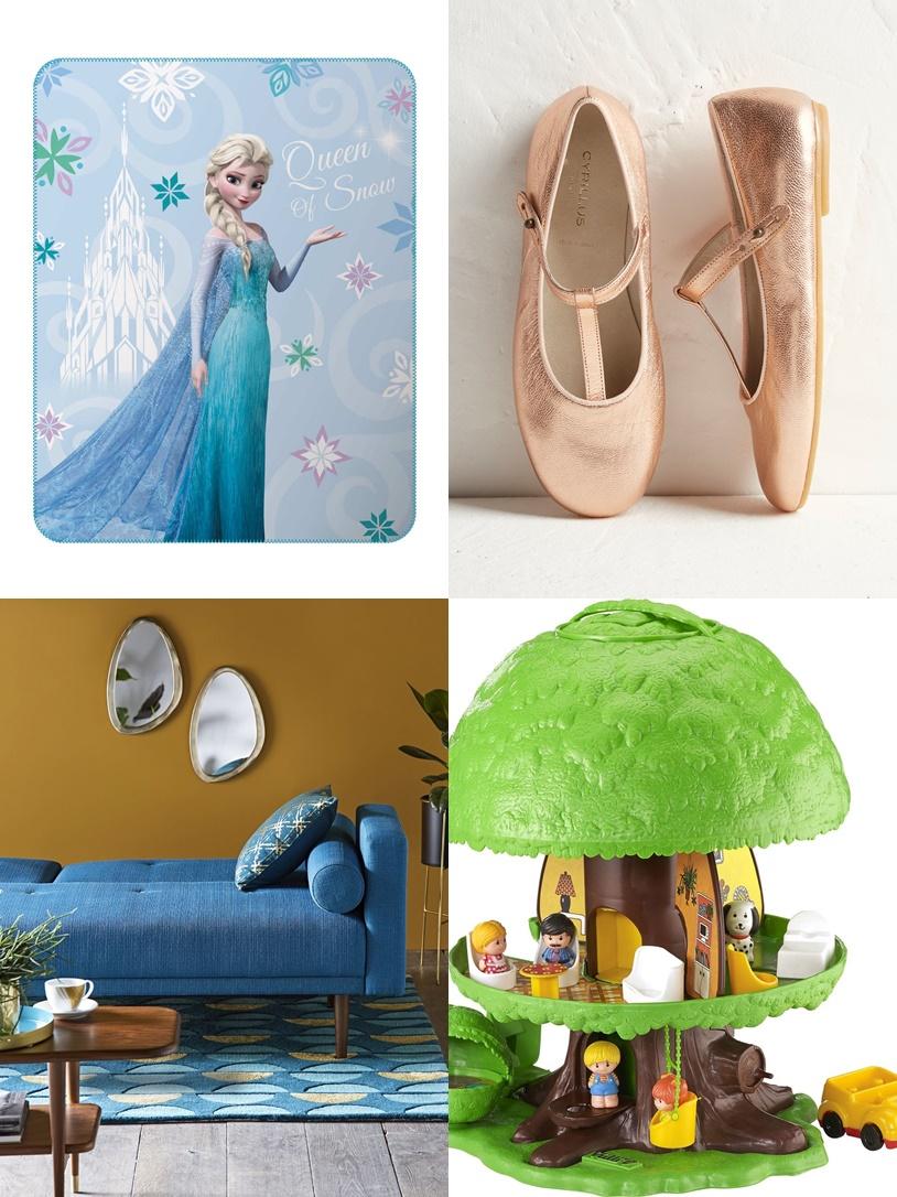 cécoration-blog-famille-enfant-reine-des-neiges-canape-bleu-arbre-magique-ballerines-filles-mamanreveuse-com
